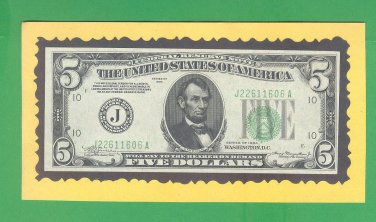 """1934 """" J """"  $5.00 J22611606A ~ DGS - MULE  ~"""