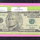 """2001 """" G """" STAR $10.00 FRN CG00571740*"""