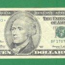 """1999 """" F """" STAR $10.00 FRN BF17079203*"""
