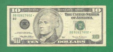 """1999 """" B """" STAR $10.00 FRN BB02617602*"""
