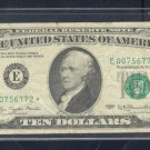 "1977 "" E "" STAR $10.00 FRN E00756772*"