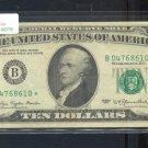 """1977 """" B """" STAR $10.00 FRN = B04768610*"""