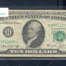 "1974 "" H "" STAR $10.00 FRN = H03911626*"