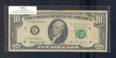 "1974 "" F "" STAR $10.00 FRN = F07203633*"