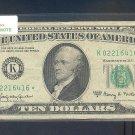 """1963A """" K """" STAR $10.00 FRN K02216416*"""