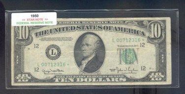 """1950 """" L """" STAR $10.00 FRN = L00712316* WIDE"""