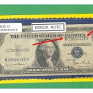 ERROR== $1.00 Silver Certificate == OVERprint shift M03824325F