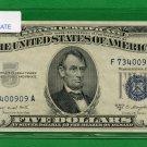 1953b $5 SILVER certificate = F73400909A
