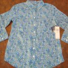NEW IZOD LACOSTE WOMENS BLUE FLORAL PRINT SMALL SHIRT TOP NWT