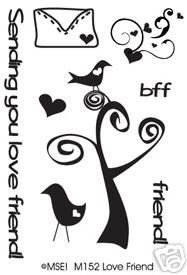 MSE Clear Stamps LOVE FRIENDS My Sentiments Exactly M152 Bird