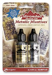 Tim Holtz Alcohol Ink - metallic Mixatives gold and silver