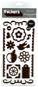 American Crafts Thickers chit chat puffy accents - chestnut