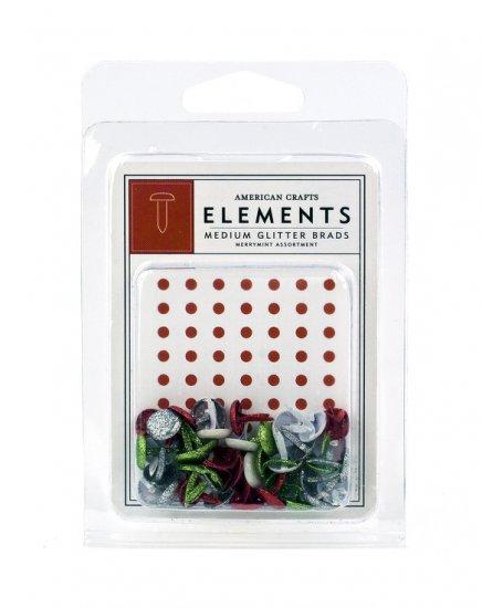 American Crafts Merrymint Assortment Medium Glitter Brads