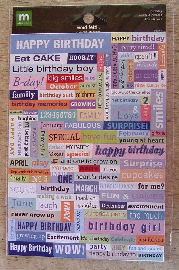 Making Memories Word Fetti Stickers - birthday