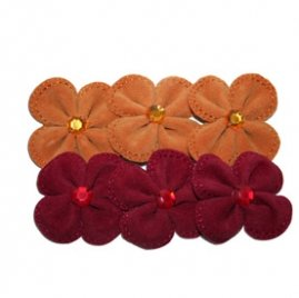 Maya Road Suede Stitched Blossoms red & orange