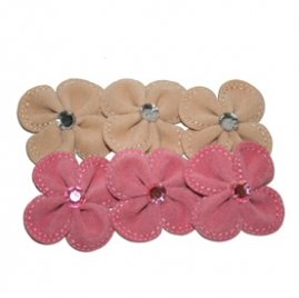 Maya Road Suede Stitched Blossoms pink & cream