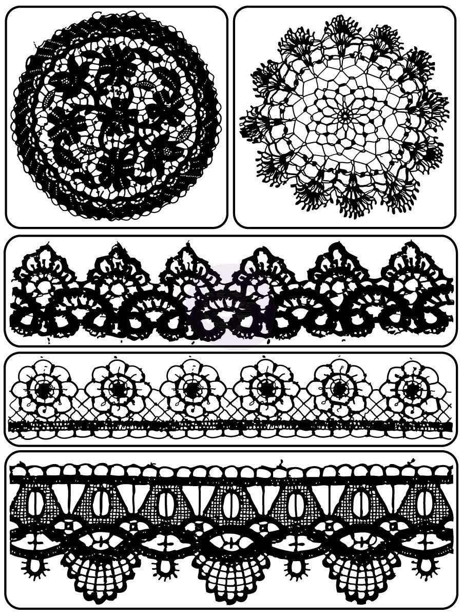 Prima Marketing Inc . - Vintage Vanity Clear Stamp Lace & Doily