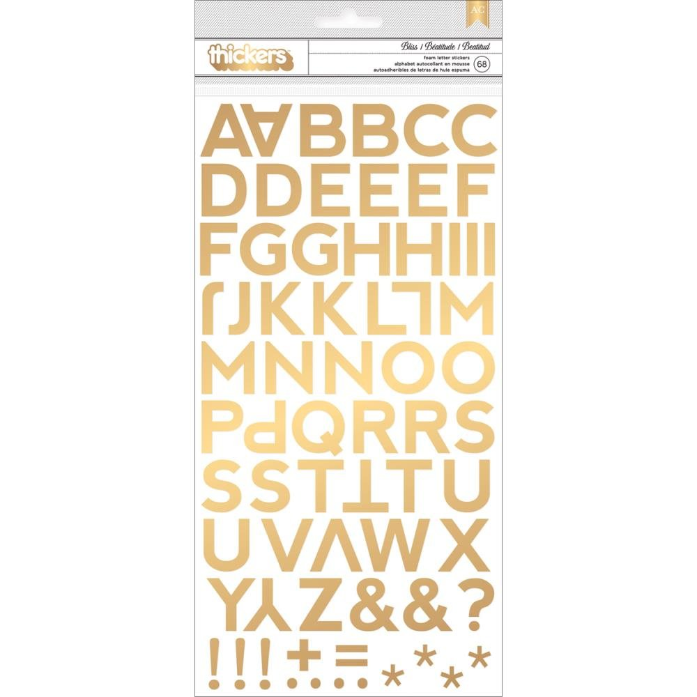 American Crafts - Citrus - ALPHABET THICKERS - Bliss - Gold Foil