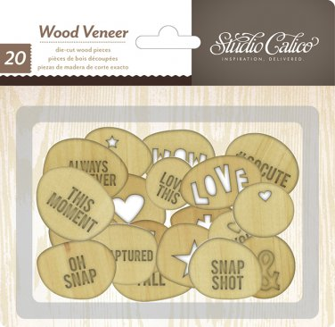 Studio Calico Wood Veneer circles with words