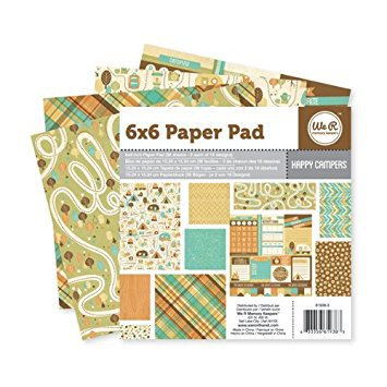 PAPER PAD - PATTERNED - WE R MEMORY KEEPERS- HAPPY CAMPER - 6 X 6 - 36 SHEETS