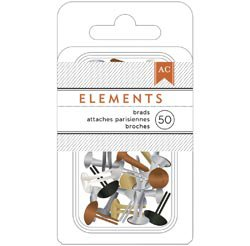 "American Crafts Elements Mini Brads 3/16"" 50/Pkg-metallic-366340"