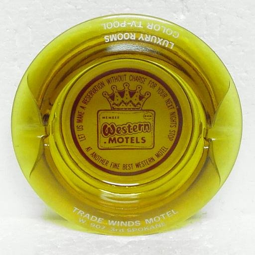 WESTERN MOTELS Round Glass Ashtray - Amber - Trade Winds Motel - Spokane, WA
