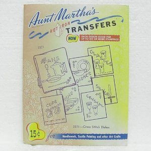 Aunt Martha's HOT IRON TRANSFERS #3371 Cross Stitch Dishes - uncut