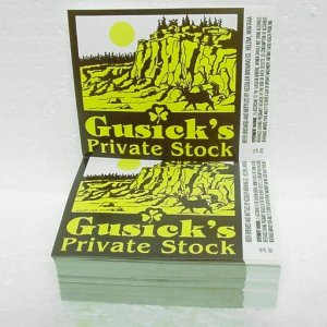"GUSICK'S PRIVATE STOCK Beer Labels - Kessler Brewing - Helena, MT - 1"" stack"