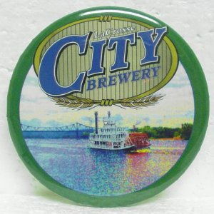 "CITY BREWERY Pin - LaCrosse, WI - Metal - 3"" - Round"