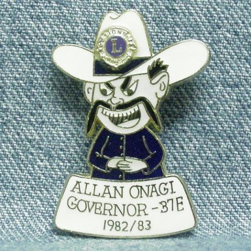 LIONS CLUB Enameled Pin - Allan Onagi Governor 37E - 1982/83