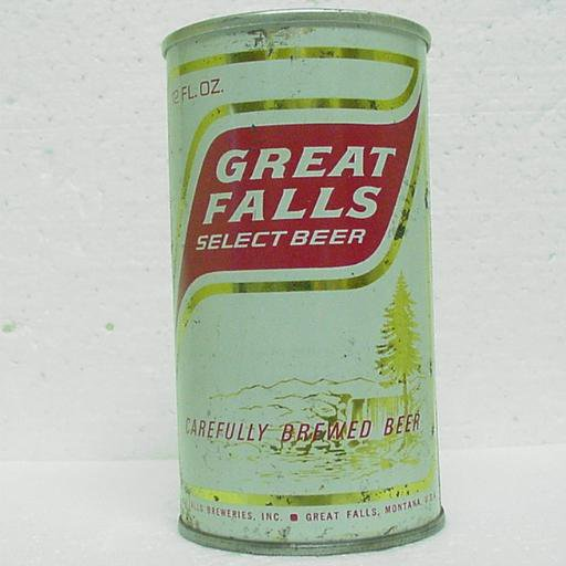 GREAT FALLS SELECT BEER Can - Great Falls Breweries - Great Falls, MT - pull tab - straight steel