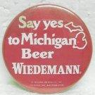 """WIEDEMANN BEER Pin Pinback - G. Heileman Brewing Co. - Michigan - Metal - 2-1/4"""" Round"""