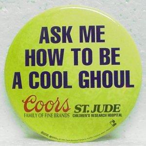"COORS ST. JUDE Cool Ghoul Pin Pinback - Round - 3"" Metal"