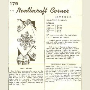 NEEDLECRAFT CORNER #179 Tablecloth Hot Iron Transfer and Directions