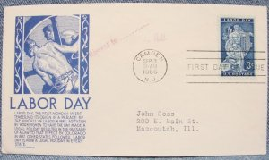LABOR DAY 3¢ First Day Cover w/ cachet - 1956