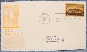 NASSAU HALL 200th ANNIVERSARY 3¢ First Day Cover w/ cachet - 1956
