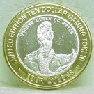 4 QUEENS $10.00 Gaming Token Silver Strike - Daphne Queen Of Water - Las Vegas, NV