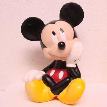 MICKEY MOUSE Bank - Hard Plastic - Mickey sitting - © DISNEY