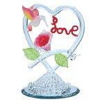 "Spun Glass ""love"" Heart With Hummingbirds Mirror Base"