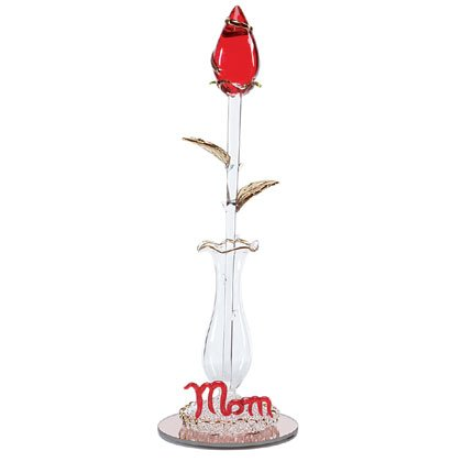 "Glass ""mom"" Rose In Vase Gold Plating Accents"