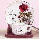 I Love You Mom Miniature Cup And Saucer Set Porcelain