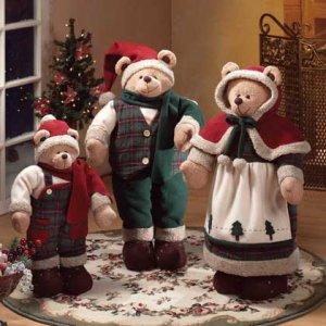 Festive Fabric Santa Christmas Bear Family