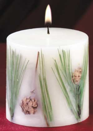Pine Scented Christmas Pillar Candle