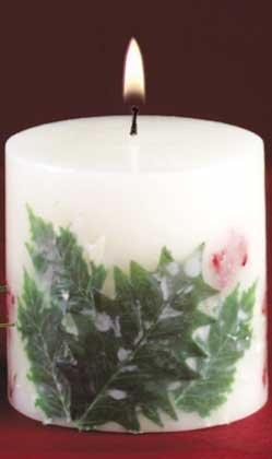 Holly And Berries Christmas Candle