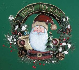 Happy Holidays Santa Christmas Wreath