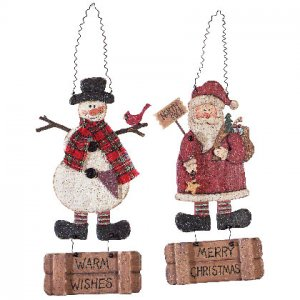 Christmas Wishes Santa Snowman Wood Signs Set Of 2