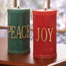 Festive Christmas Pillar Candle Holder Red Green Set Of 2