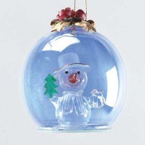 Holly Jolly Christmas Snowman Ornament Blue Tinted