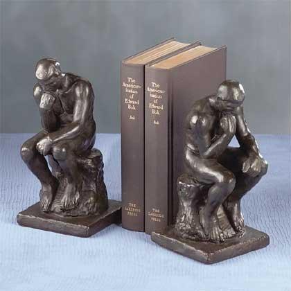 "Verdigris ""Thinker"" Bookends Weathered Bronze"