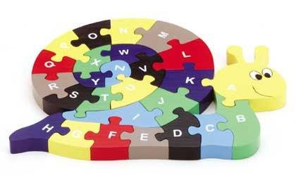 Wood Snail Puzzle 26 Piece Alphabet